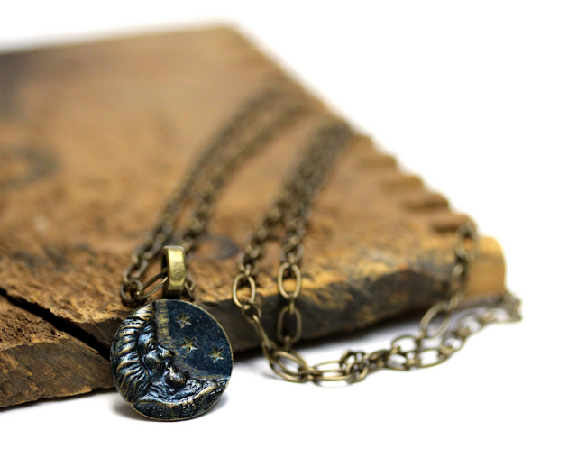 Antique Man in the Moon Necklace #antique #jewelry #moon #stars