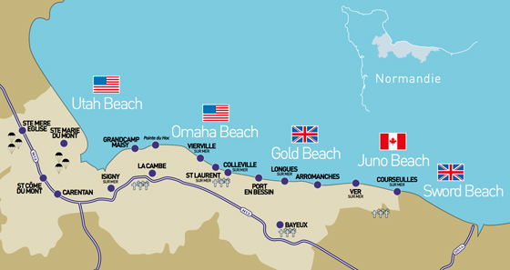 map of d day landings normandy