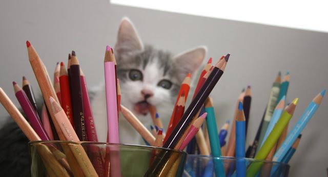 Testant les crayons de couleur