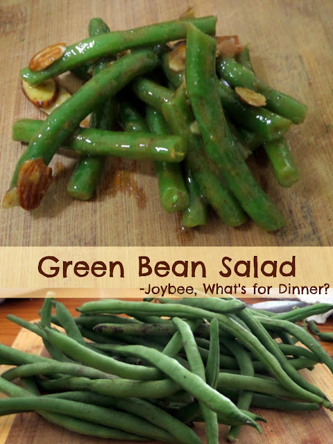 Green Bean Salad:  Crispy green beans in a honey mustard vinaigrette with sliced almonds.  A simple and quick vegetable side for any meal.