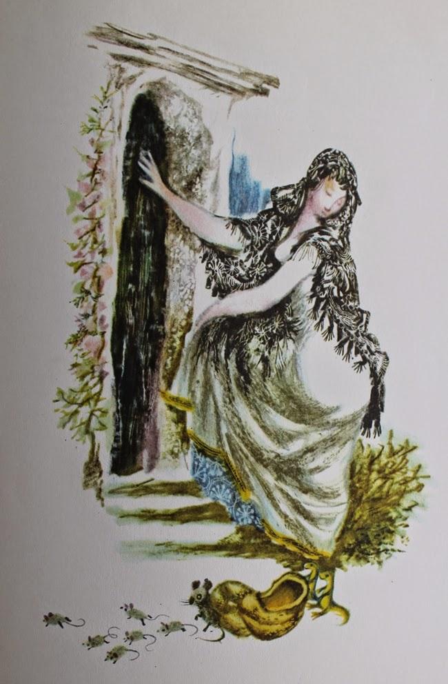 vintage 1960s cinderella grimms fairy tale illustration