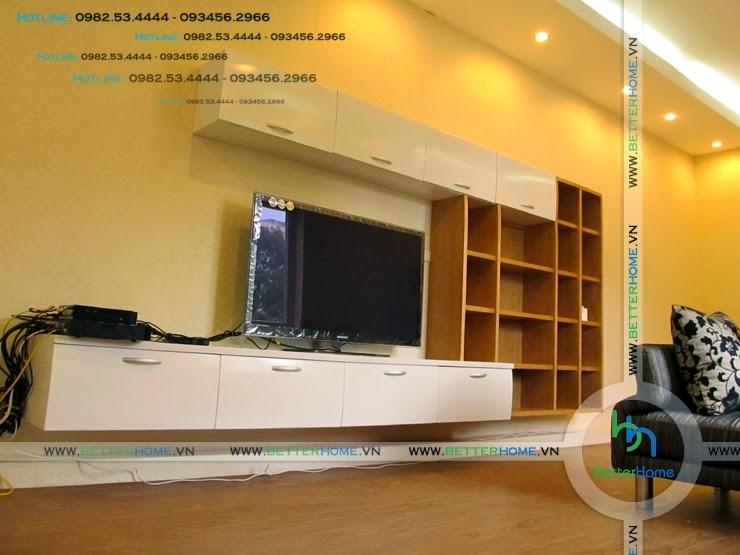 Thiết kế tủ ti vi phòng khách chung cư Mandarin Garden