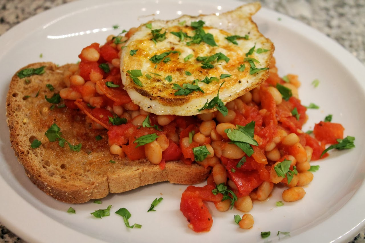 Spicy Beans And Pepperoni On Toast With Fried Eggs
