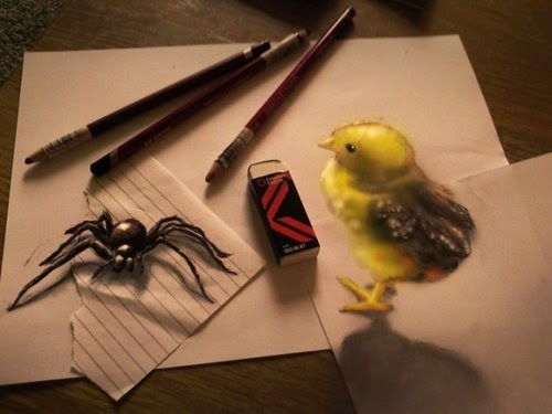 17-Spider-And-The-Chick-Optical-Illusionism-Ramon-Bruin-www-designstack-co