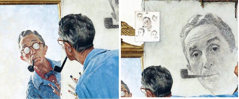 Histoire d arts rockwell triple autoportrait 1960 for Se regarder dans le miroir