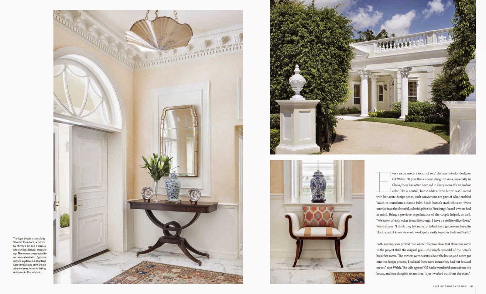 Jessica glynn interior design by gil walsh luxe magazine winter 2015 classic palm beach home Palm beach interior designers
