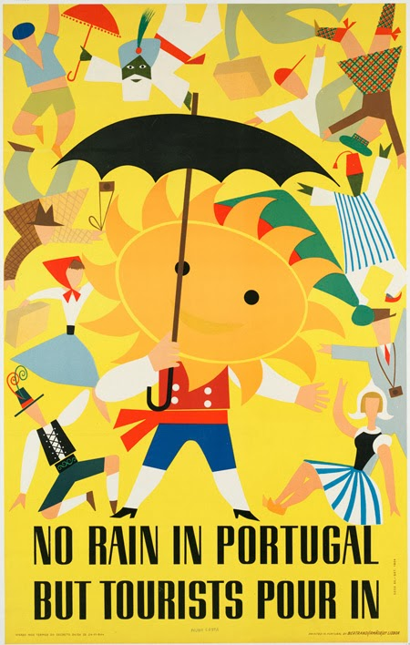 classic posters, free download, free printable, graphic design, printables, retro prints, travel, travel posters, vintage, vintage posters, vintage printables, No Rain in Portugal But Tourists Pour In - Vintage Portugal Travel Poster