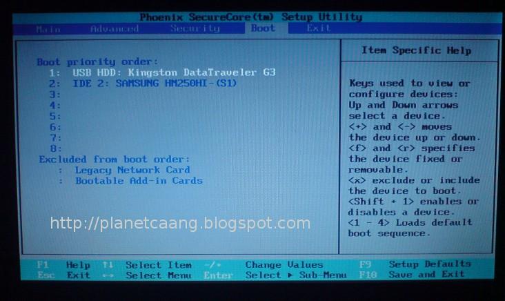bagaimana agar boot pertama bios pada usb flash disk