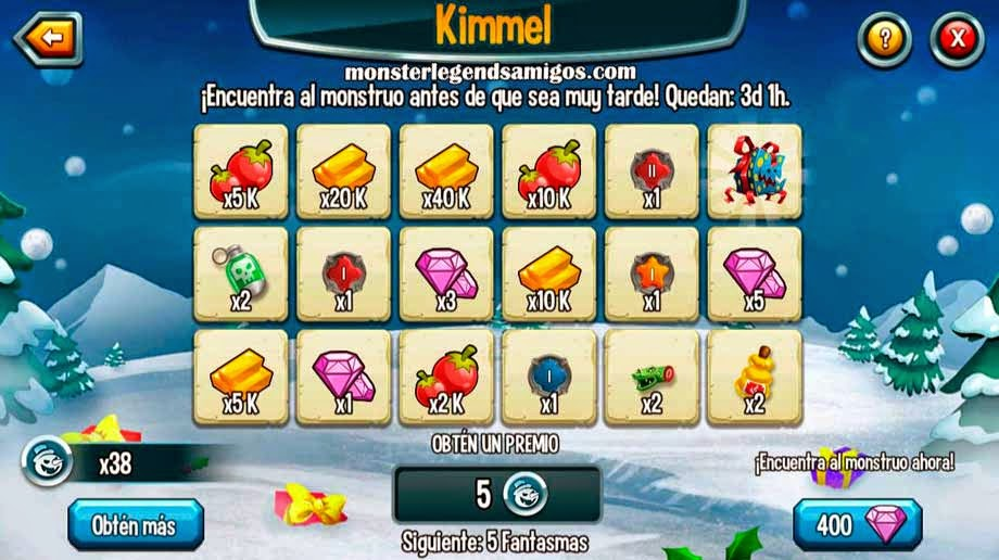 imagen de los premios de la isla navidad de monster legends