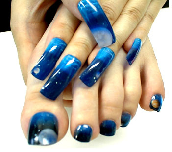 Hot Blue Shade Nail Art
