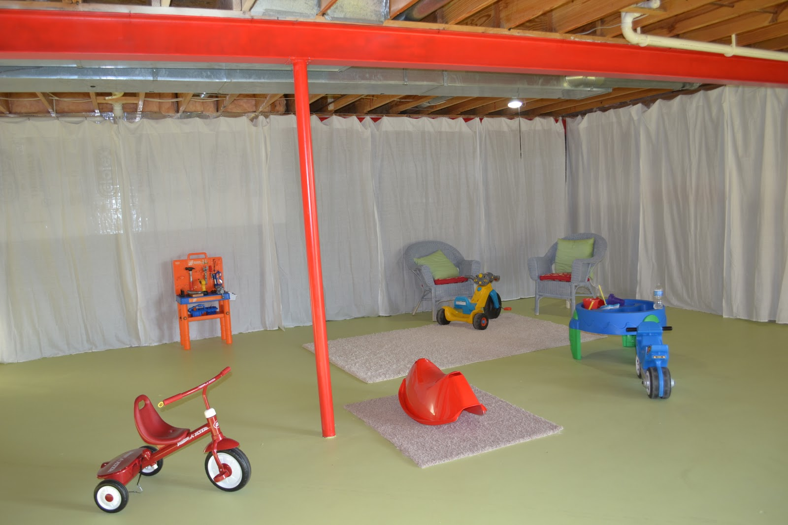 Curtain Wall Basement : Sunny carrier basement playroom update and wire curtain