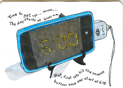 iPod Touch being used as an alarm clock. Pen and Ink with Watercolour by Ana Tirolese ©2013