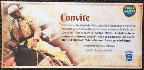 SALVATERRA DE MAGOS  10-05-2018. HOMENAGEM AO PICADOR PORTUGUES SIMÄO NEVES COM EXPOSIÇÄO DE FOTOS.