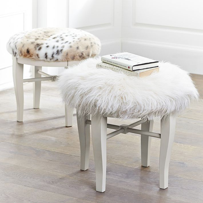 Life Love Larson: Look for Less Challenge: Faux Fur Vanity Stool