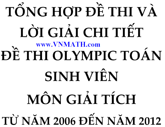 de thi olympic toan sinh vien 2006, 2013, dai so, giai tich