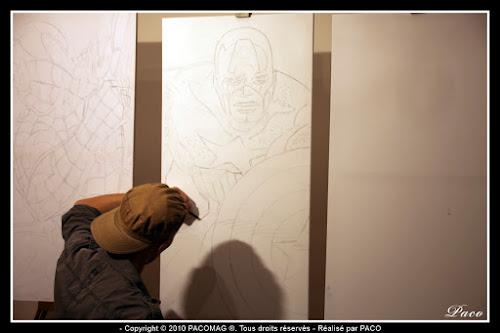 dessins captain américa sur toile au crayon