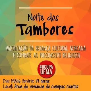 cartaz de convite para a noite de tambores na UFMA em Imperatriz