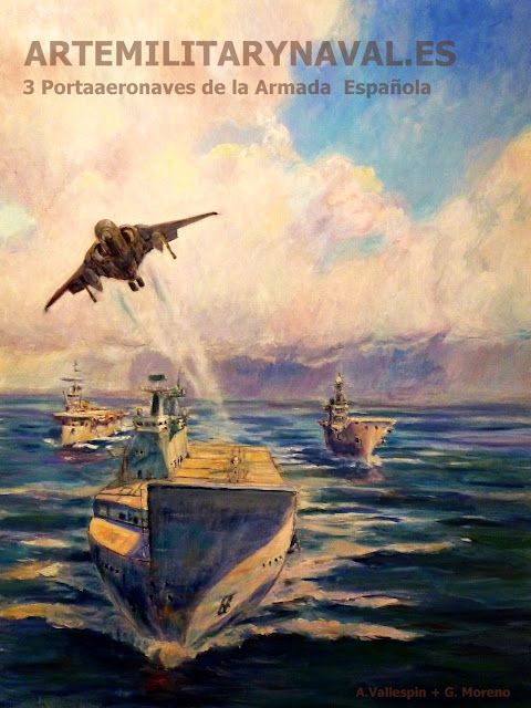 Pintura de los portaaviones españoles portaaviones, portaaviones principe de asturias, portaviones Dédalo, LHD Juan Carlos I