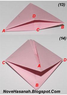 cara dan langkah-langkah disertai gambar untuk melipat kertas membentuk origami perahu layar sederhana untuk anak SD 5