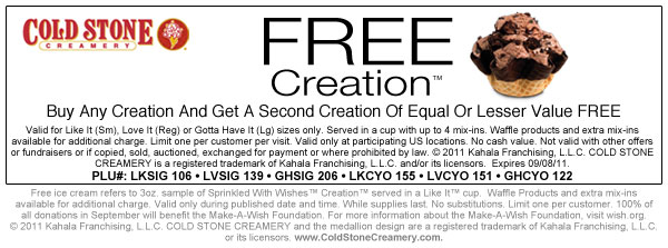 photograph regarding Cold Stone Printable Coupon referred to as Free of charge IS MY Lifestyle: COUPON: BOGO Totally free Production at Chilly Stone