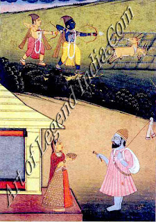 While the cottage unattended, demon-king Ravana advances on Sita, disguised in the saffron robes of an ascetic.