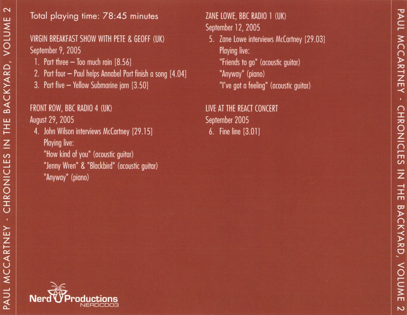 Beatles Radio Waves: 2005 - Chronicles in the Backyard 02