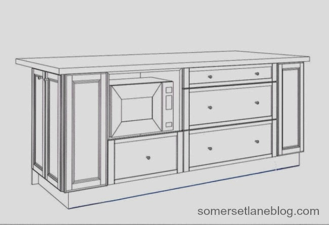 design of kitchen island with built-in microwave