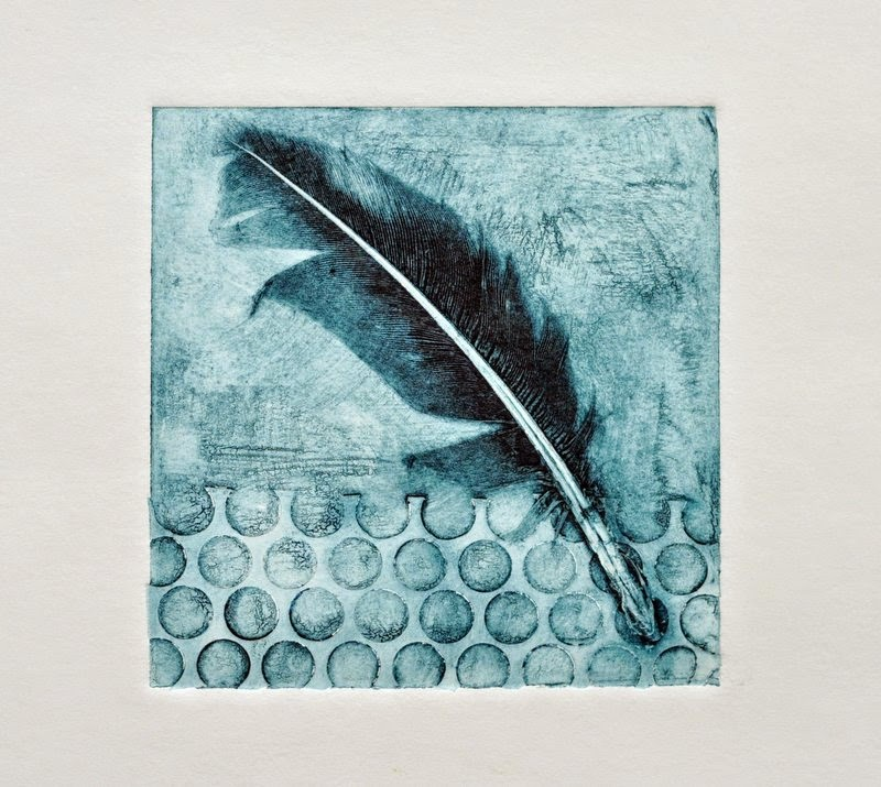 Feather collagraph print