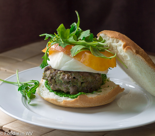 Click for Recipe for Gluten Free Burgers with Mozzarella and Spinach-Arugula Pesto