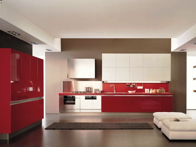 White and red kitchen cabinets furniture modern elegant for White cabinets red walls kitchen
