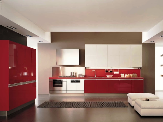 White And Red Kitchen Cabinets Furniture Modern Elegant