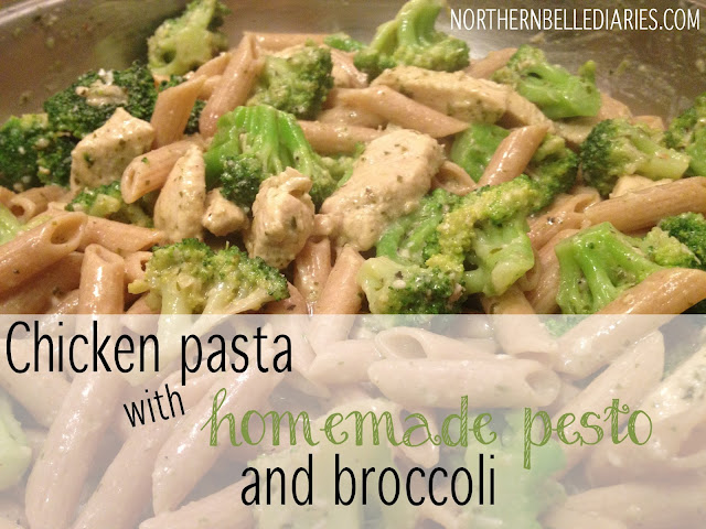 Chicken pasta with homemade pesto