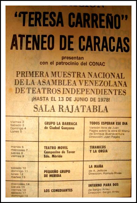 PRIMERA MUESTRA NACIONAL DE LA ASAMBLEA VENEZOLANA DE TEATROS INDEPENDIENTES: Caracas, 1978