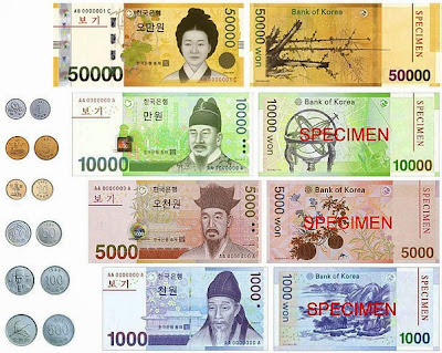 South Korean Won bills and coins.