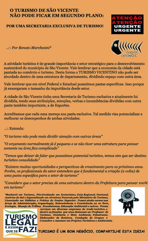 O Turismo de São Vicente Não Pode Ficar em Segundo Plano: Por uma Secretaria Exclusiva de Turismo!