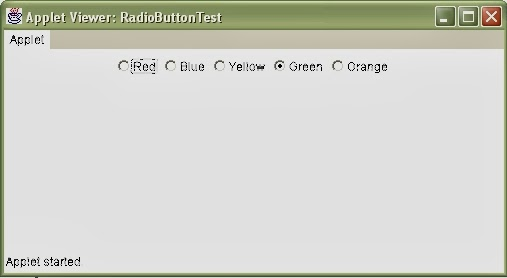 Creating Radio Buttons In An Applet Window Using Advance