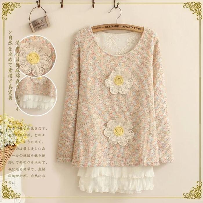 áo len form dài phong cách thời trang nhật bản đính hai hoa lớn mori girl