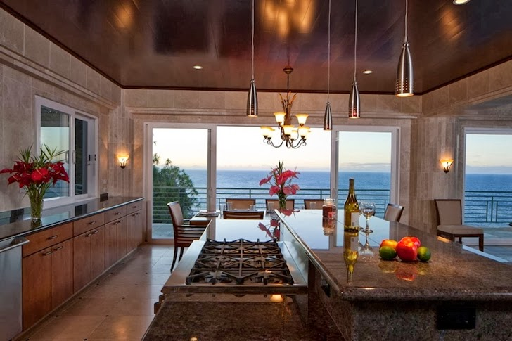 Kitchen in an Impressive Waterfall House in Hawaii