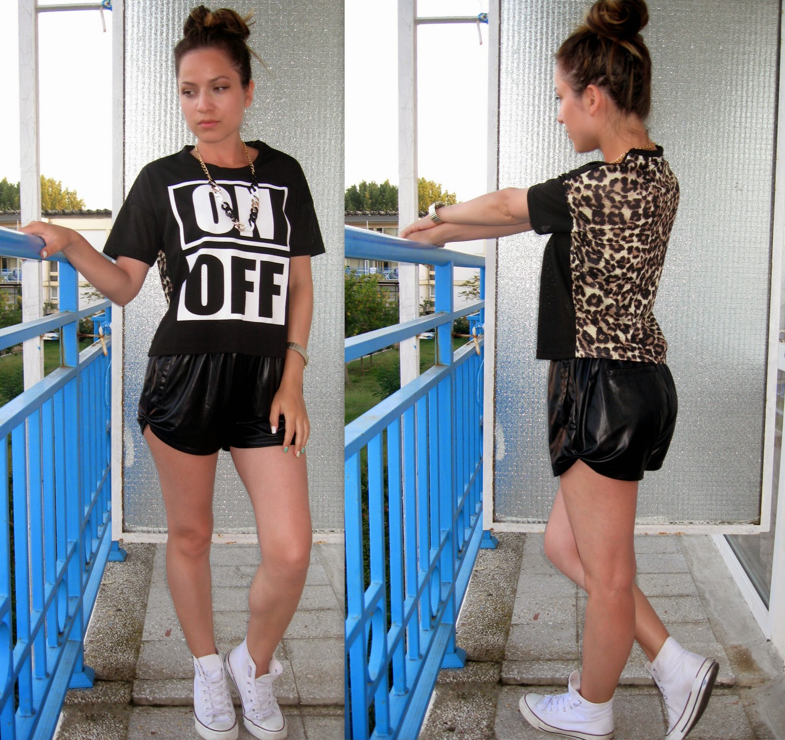 terranova black on/off print crop top with leopard print back, black faux leather shorts, statement necklace, messy bun, white converse,
