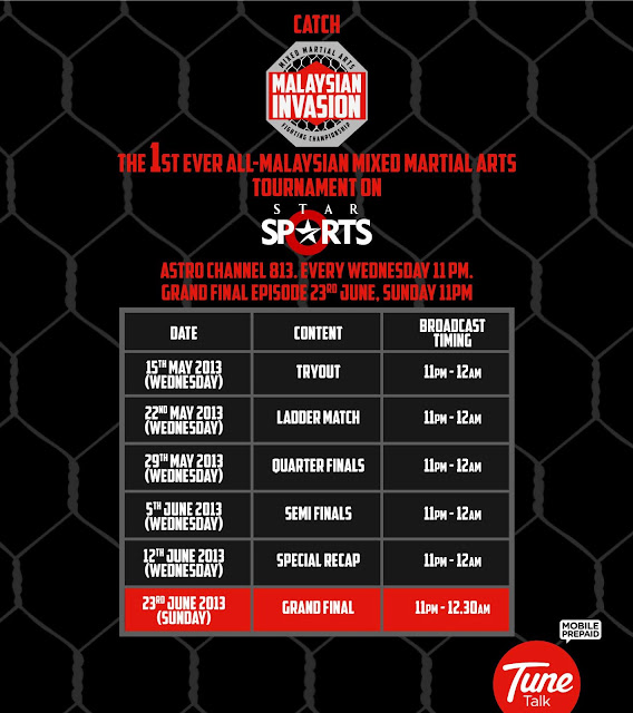Malaysian Invasion Mixed Martial Arts MIMMA TV schedule astro espn star sports channel malaysia MMA