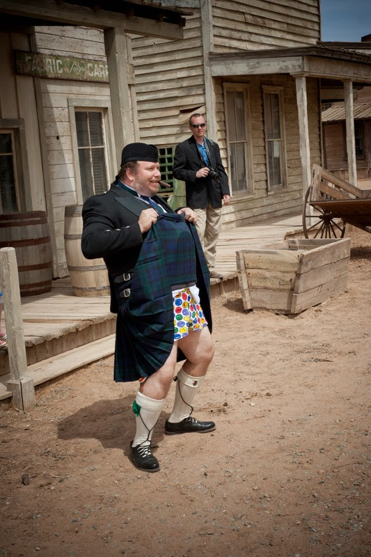 Lee Maisel showing what's under his kilt