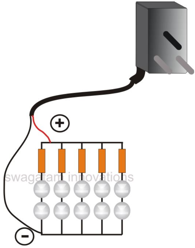 using cell phone charger for making a led tube light circuit, Wiring diagram