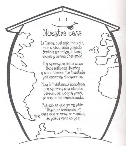 Dibujo de la Tierra con poema para colorear ~ Dibujos para Colorear