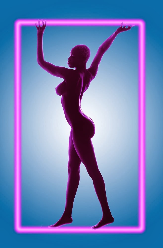 Girl framed in pink neon.