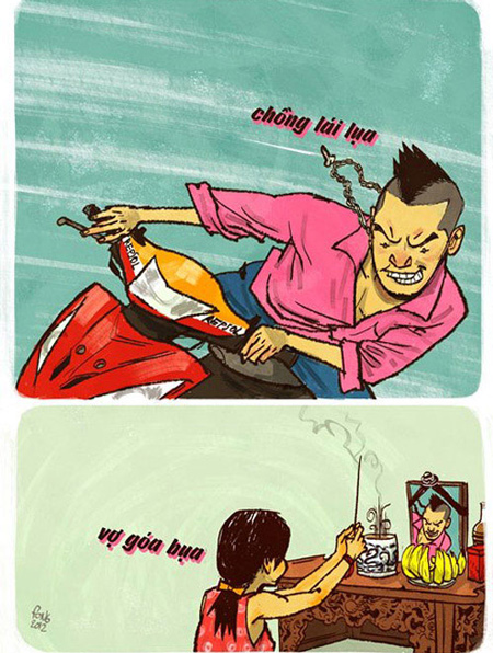 """Biếm họa """"Chồng lái lụa, Vợ góa bụa"""""""