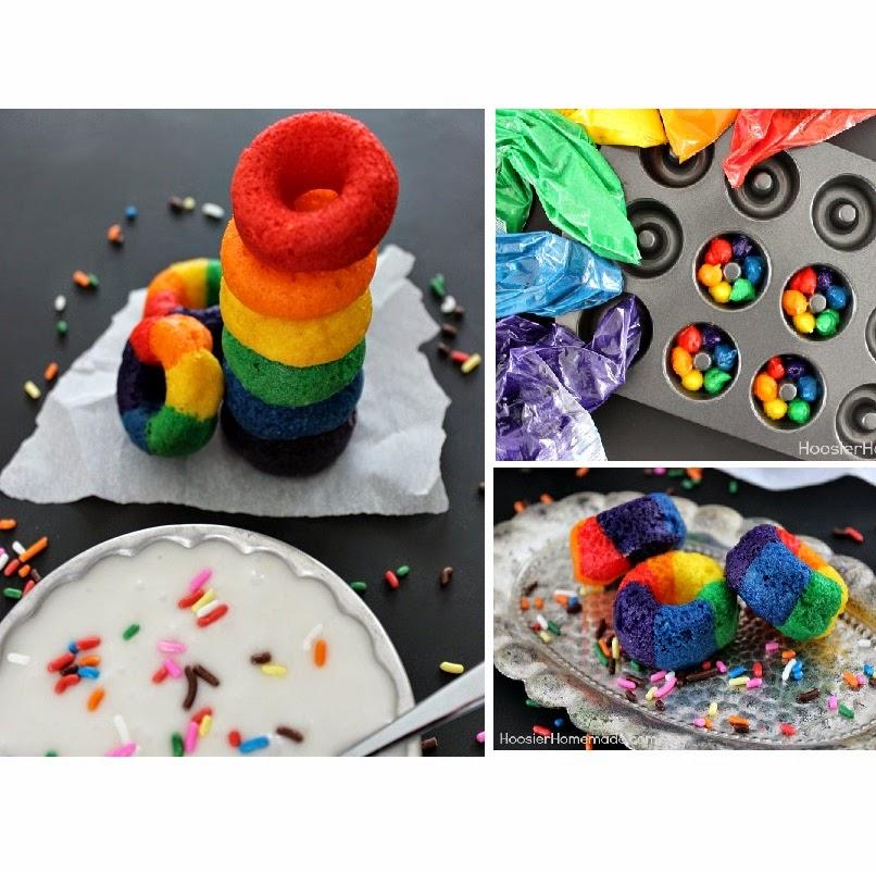 http://hoosierhomemade.com/mini-rainbow-doughnuts/