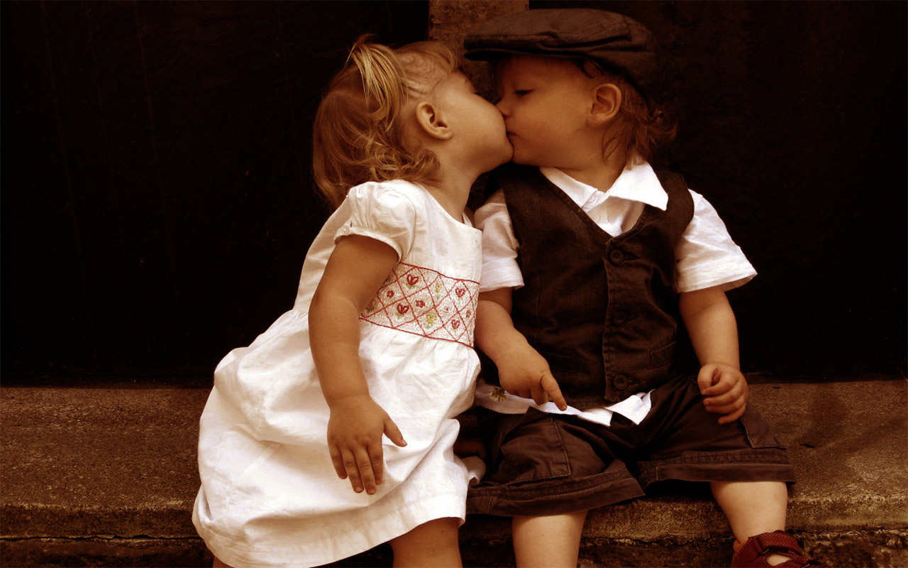 Cute Little Baby Boy And Girl Kissing In Dark HD Wallpaper ...