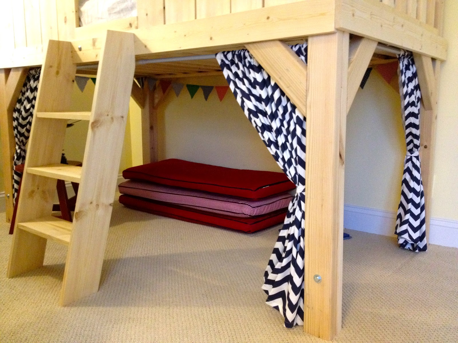 Jaime added a fort area underneath. She sewed those cute curtains! You ...