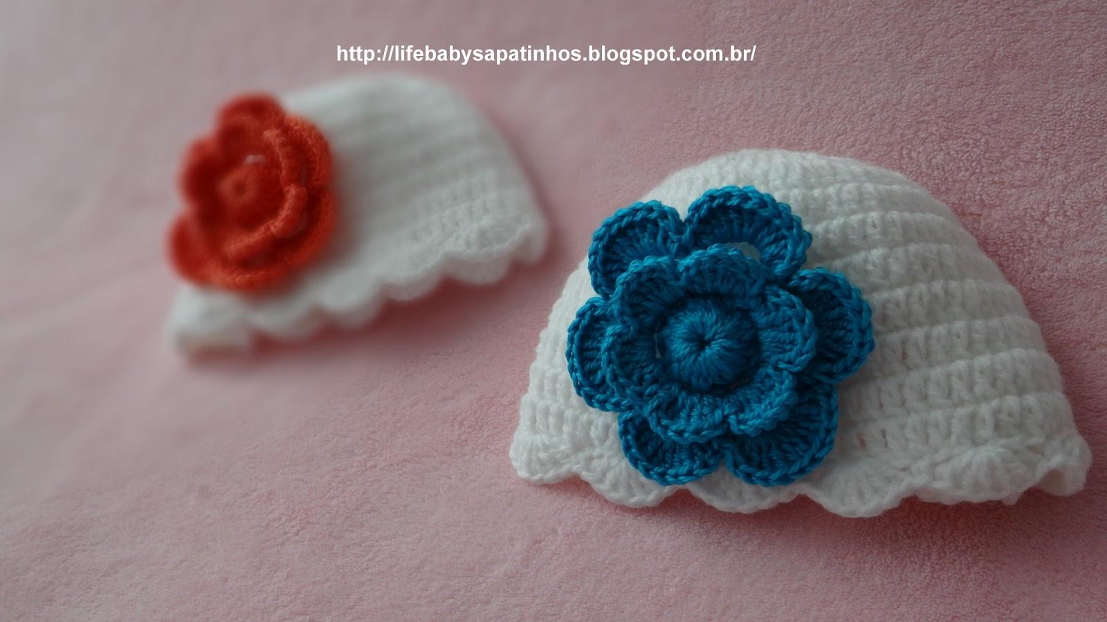 Passo a passo touca Para Bebê com Flor - Ateliê do Crochê 6c686b80c7a