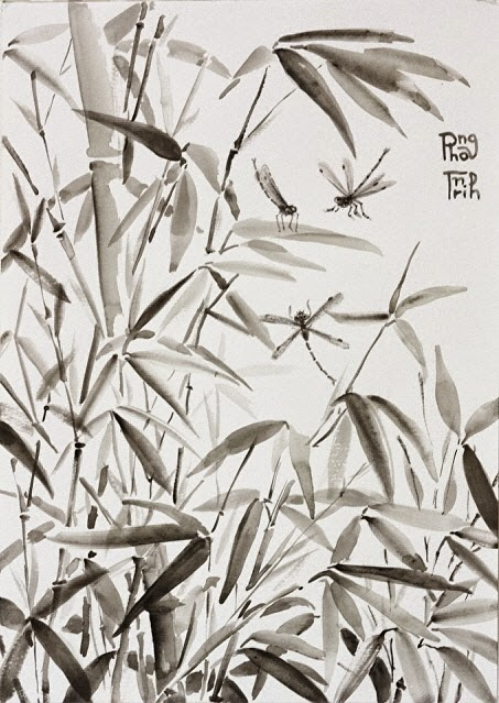Black and white watercolor painting nature, plants and insects